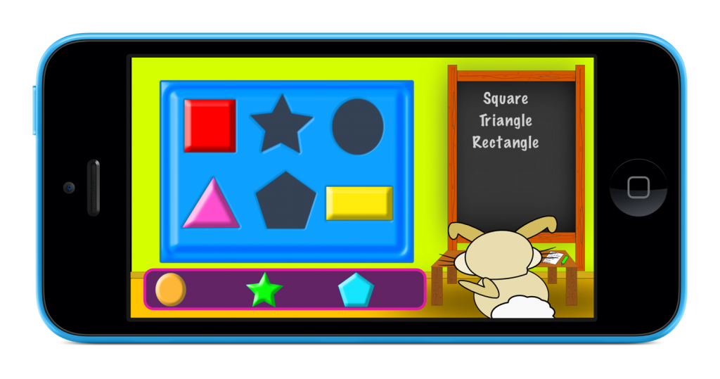 Screenshot for School Time with Heston showing Heston the rabbit in the shapes classroom.